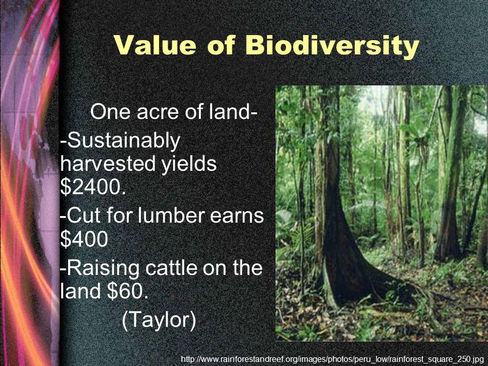 Value of Biodiversity One acre of land- -Sustainably harvested yields $2400.