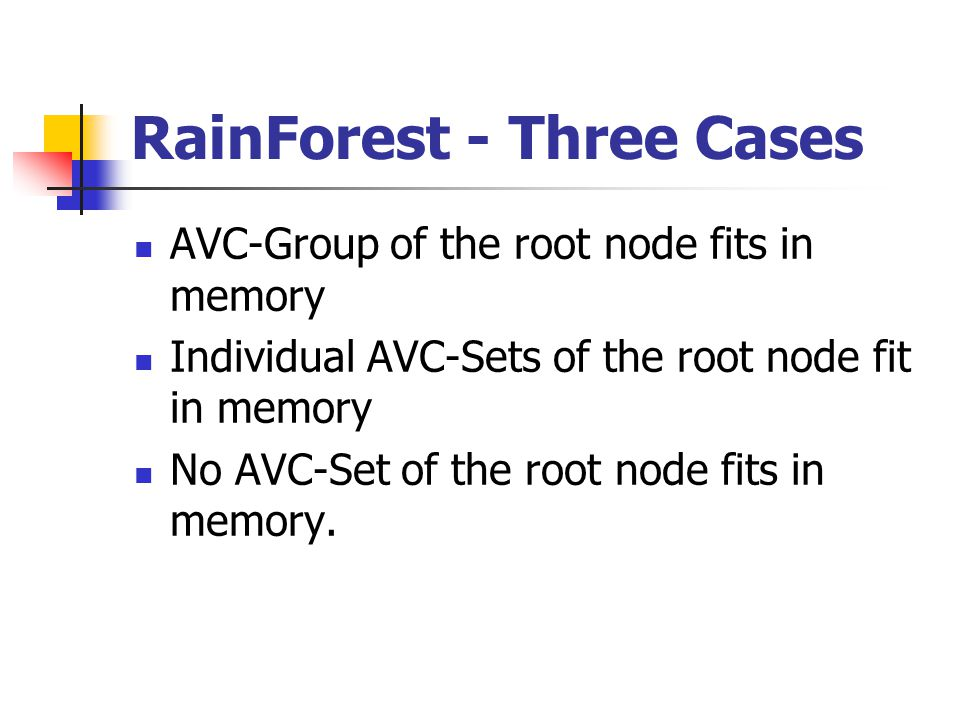 RainForest - Three Cases AVC-Group of the root node fits in memory Individual AVC-Sets of the root node fit in memory No AVC-Set of the root node fits in memory.