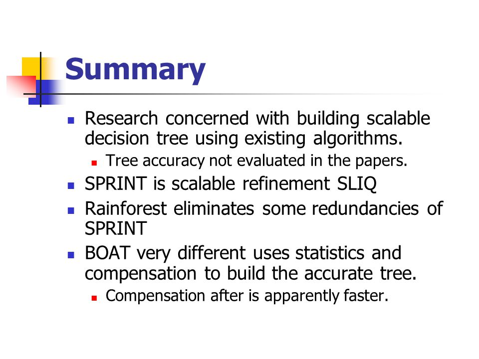 Summary Research concerned with building scalable decision tree using existing algorithms.
