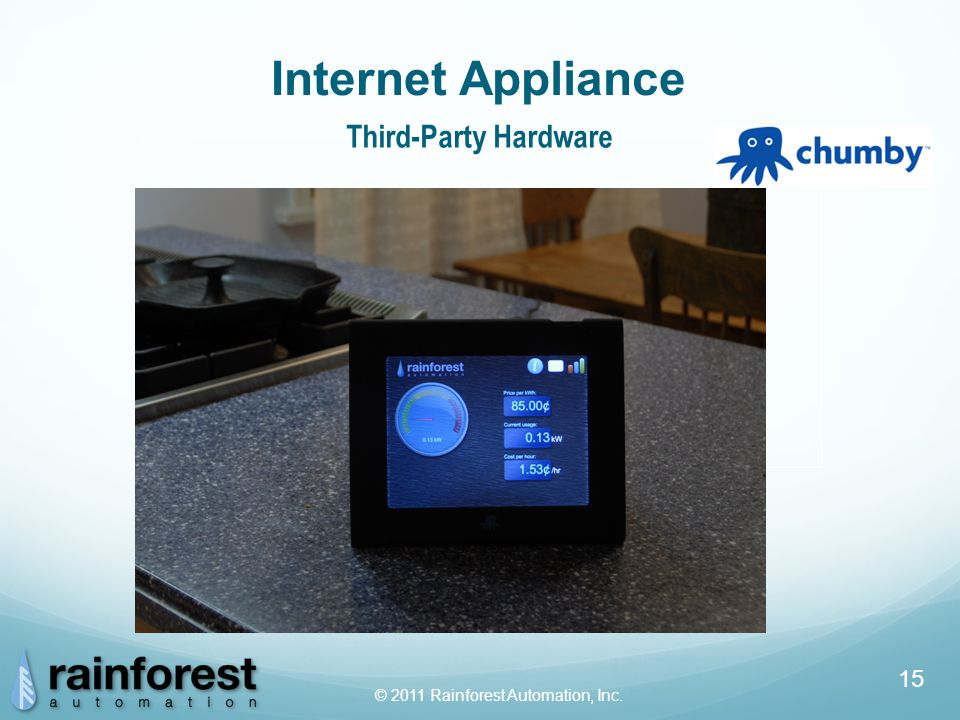 © 2011 Rainforest Automation, Inc. 15 Internet Appliance Third-Party Hardware