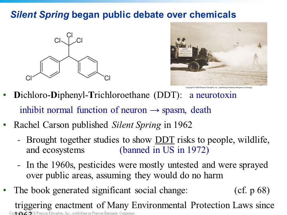 Copyright © 2008 Pearson Education, Inc., publishing as Pearson Benjamin Cummings Silent Spring began public debate over chemicals Dichloro-Diphenyl-T