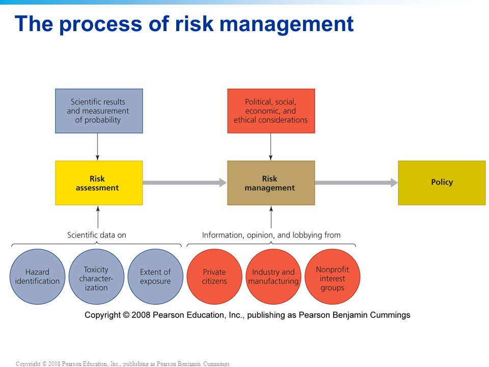 Copyright © 2008 Pearson Education, Inc., publishing as Pearson Benjamin Cummings The process of risk management