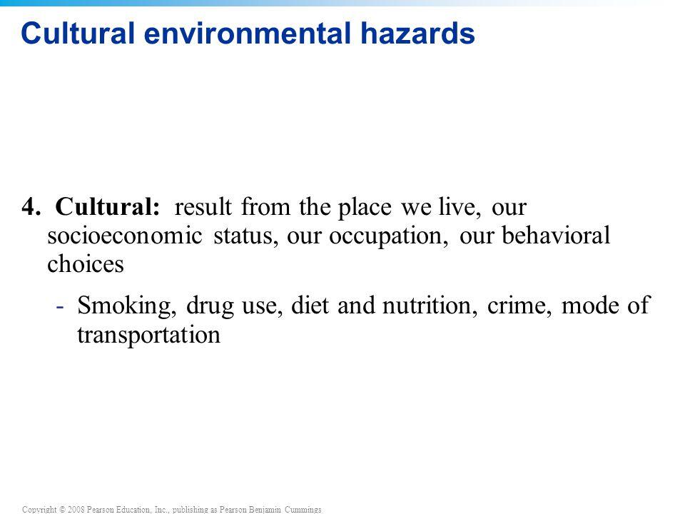 Copyright © 2008 Pearson Education, Inc., publishing as Pearson Benjamin Cummings Four types of environmental hazards