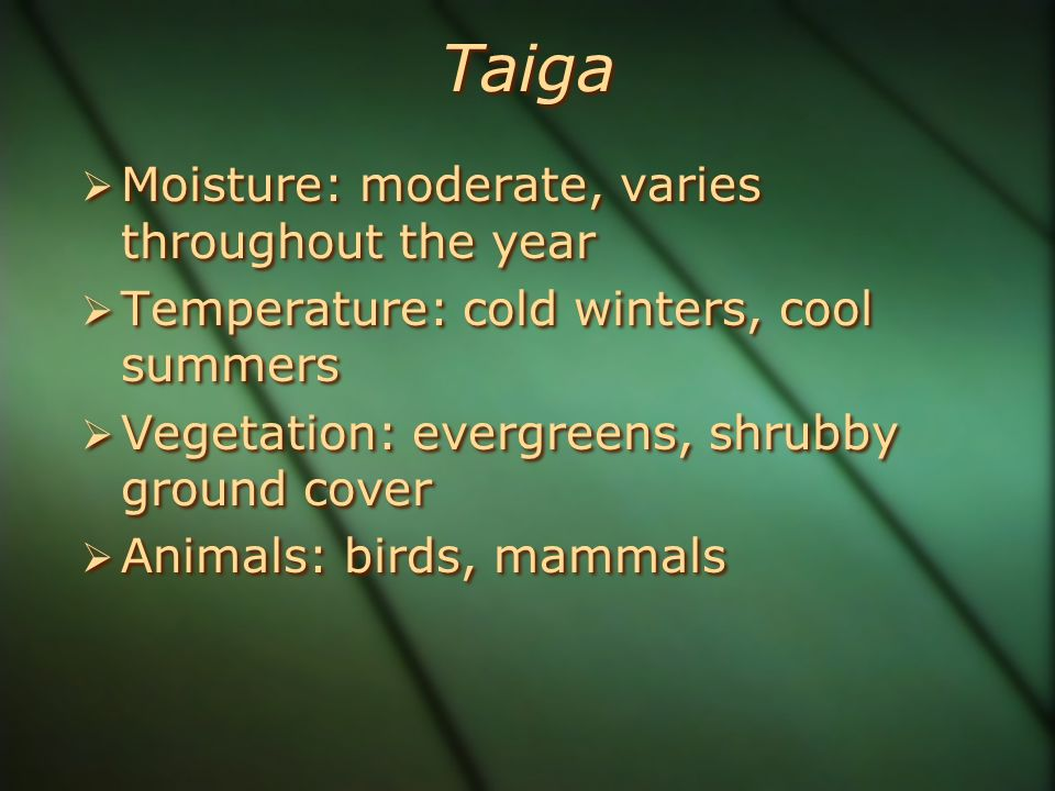 Taiga  Moisture: moderate, varies throughout the year  Temperature: cold winters, cool summers  Vegetation: evergreens, shrubby ground cover  Animals: birds, mammals  Moisture: moderate, varies throughout the year  Temperature: cold winters, cool summers  Vegetation: evergreens, shrubby ground cover  Animals: birds, mammals