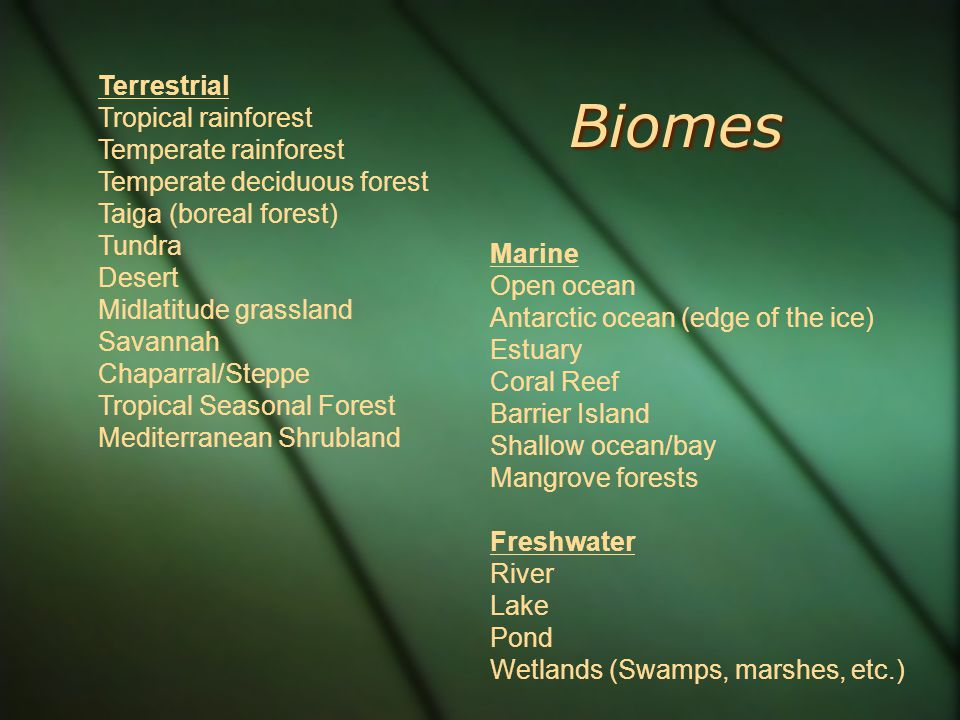 Biomes Terrestrial Tropical rainforest Temperate rainforest Temperate deciduous forest Taiga (boreal forest) Tundra Desert Midlatitude grassland Savannah Chaparral/Steppe Tropical Seasonal Forest Mediterranean Shrubland Marine Open ocean Antarctic ocean (edge of the ice) Estuary Coral Reef Barrier Island Shallow ocean/bay Mangrove forests Freshwater River Lake Pond Wetlands (Swamps, marshes, etc.)