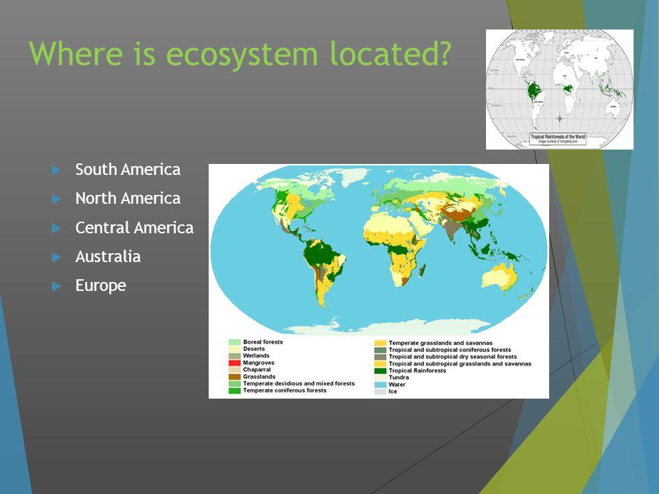 Where is ecosystem located  South America  North America  Central America  Australia  Europe