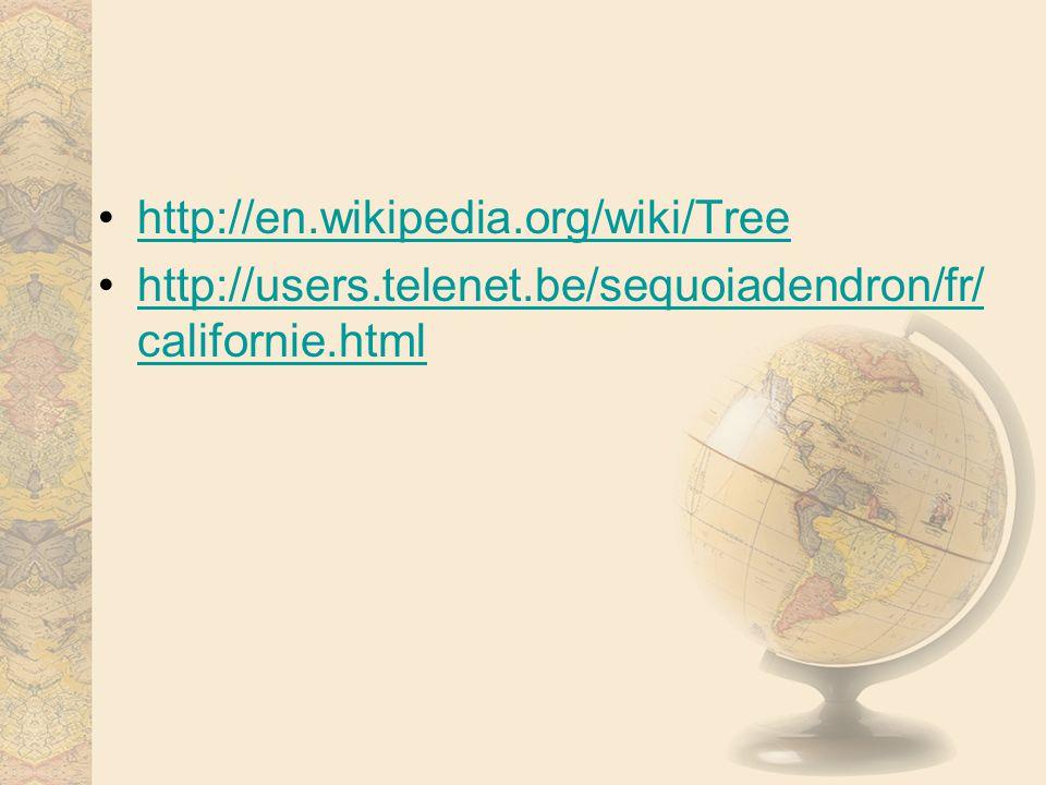 http://en.wikipedia.org/wiki/Tree http://users.telenet.be/sequoiadendron/fr/ californie.htmlhttp://users.telenet.be/sequoiadendron/fr/ californie.html