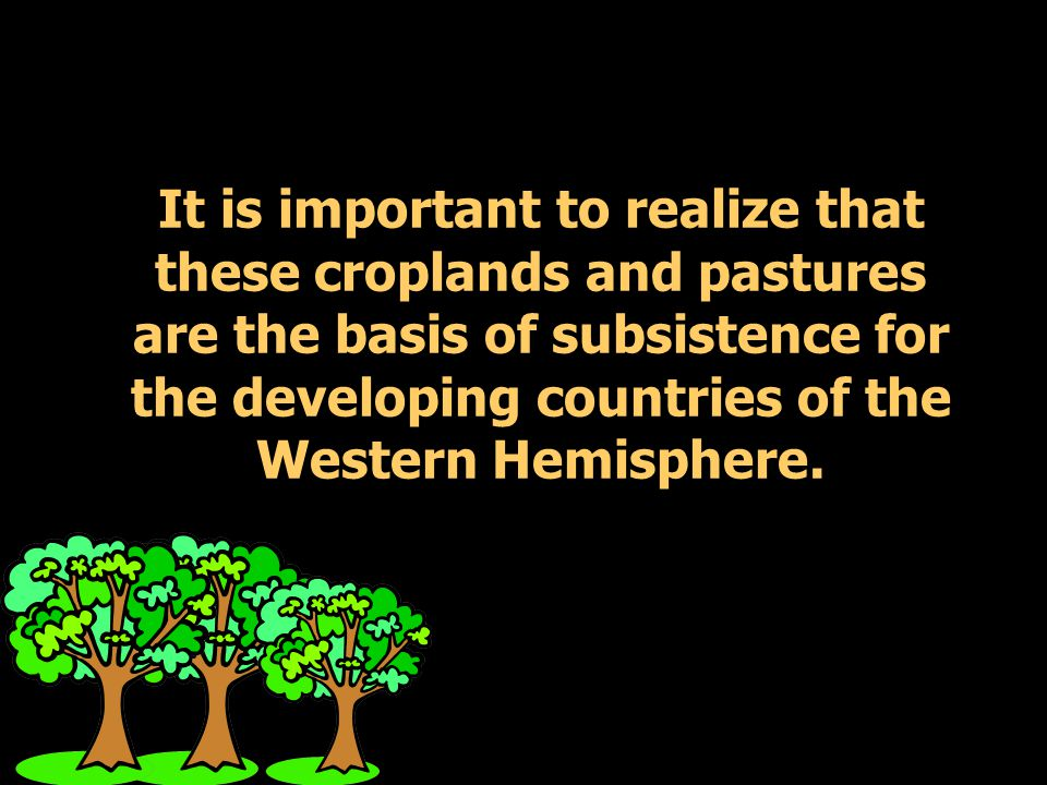 It is important to realize that these croplands and pastures are the basis of subsistence for the developing countries of the Western Hemisphere.
