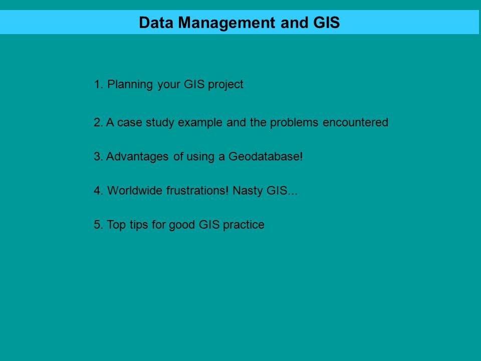 Data Types in GIS Maps (road, rivers etc) Site locations (with attributes) Satellite data Topographic data