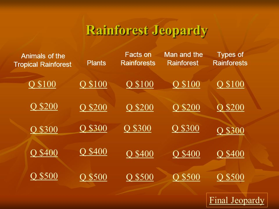 $500 Answer from Man and the Rainforest Deforestation
