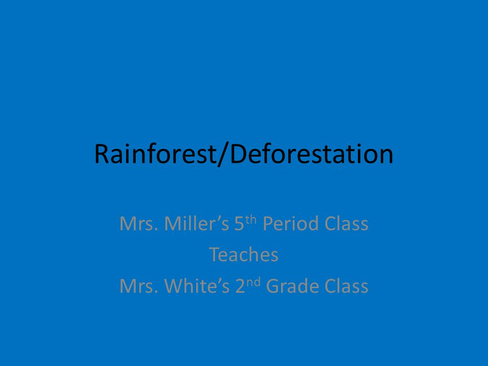 Rainforest/Deforestation Mrs. Miller's 5 th Period Class Teaches Mrs. White's 2 nd Grade Class