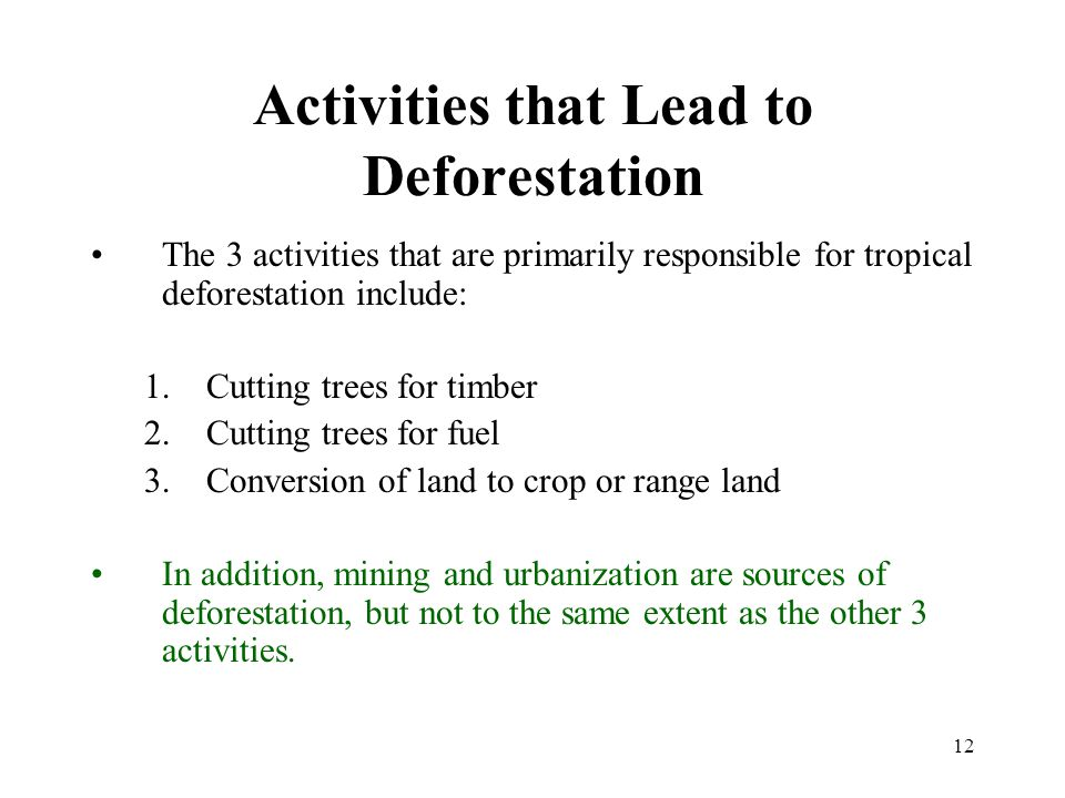 12 Activities that Lead to Deforestation The 3 activities that are primarily responsible for tropical deforestation include: 1.Cutting trees for timber 2.Cutting trees for fuel 3.Conversion of land to crop or range land In addition, mining and urbanization are sources of deforestation, but not to the same extent as the other 3 activities.