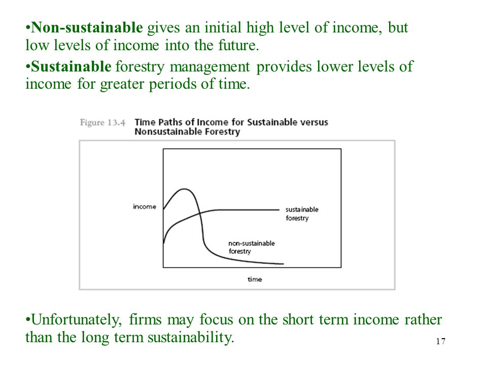 17 Non-sustainable gives an initial high level of income, but low levels of income into the future. Sustainable forestry management provides lower lev