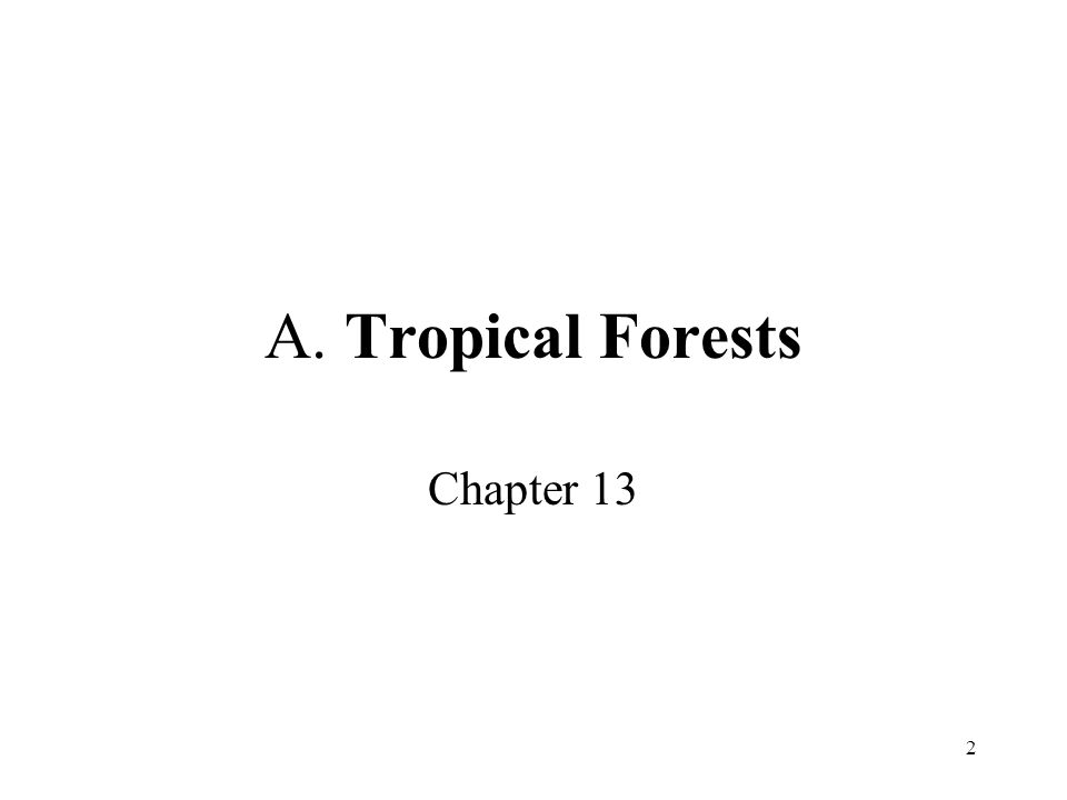 2 A. Tropical Forests Chapter 13