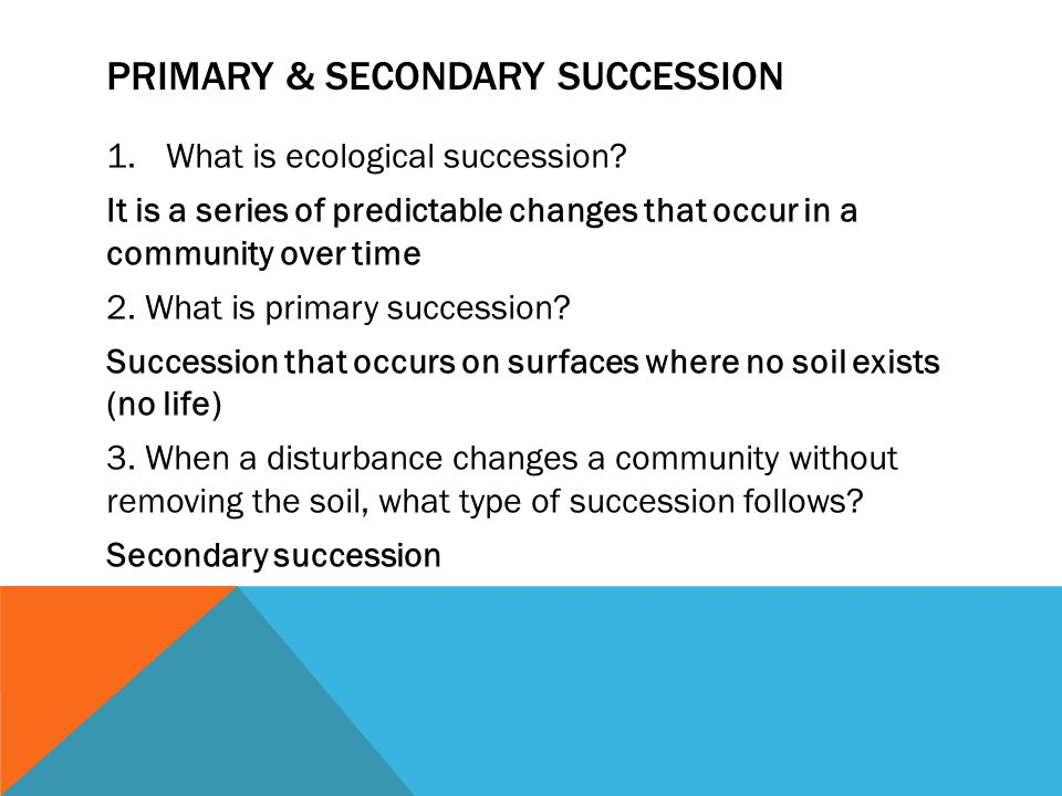 PRIMARY & SECONDARY SUCCESSION 1.What is ecological succession? It is a series of predictable changes that occur in a community over time 2. What is p