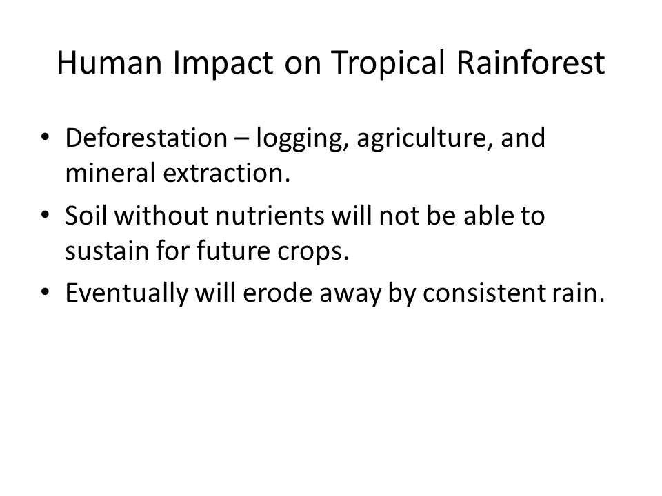 Human Impact on Tropical Rainforest Deforestation – logging, agriculture, and mineral extraction.