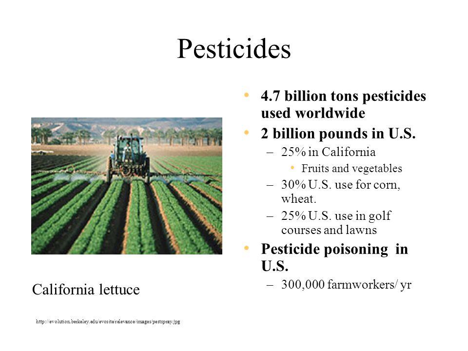 Pesticides 4.7 billion tons pesticides used worldwide 2 billion pounds in U.S.