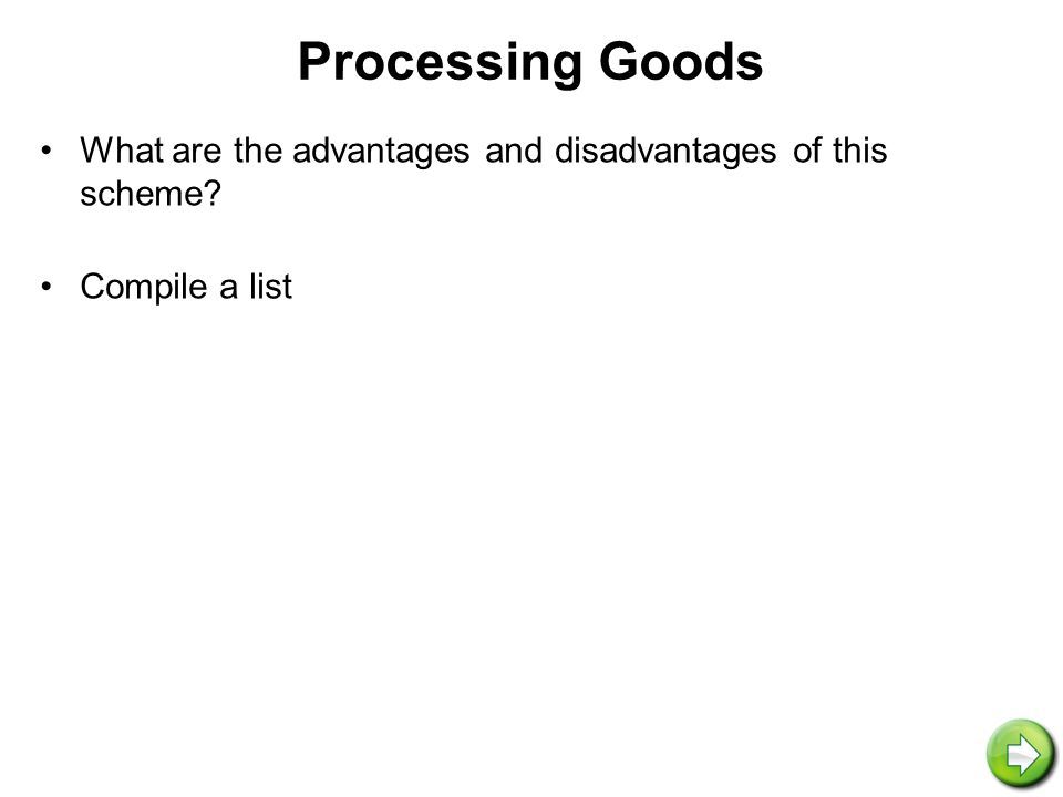 Processing Goods What are the advantages and disadvantages of this scheme Compile a list