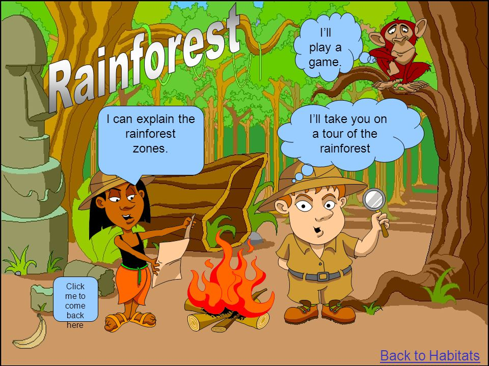 I'll take you on a tour of the rainforest I can explain the rainforest zones. Click me to come back here Back to Habitats I'll play a game.