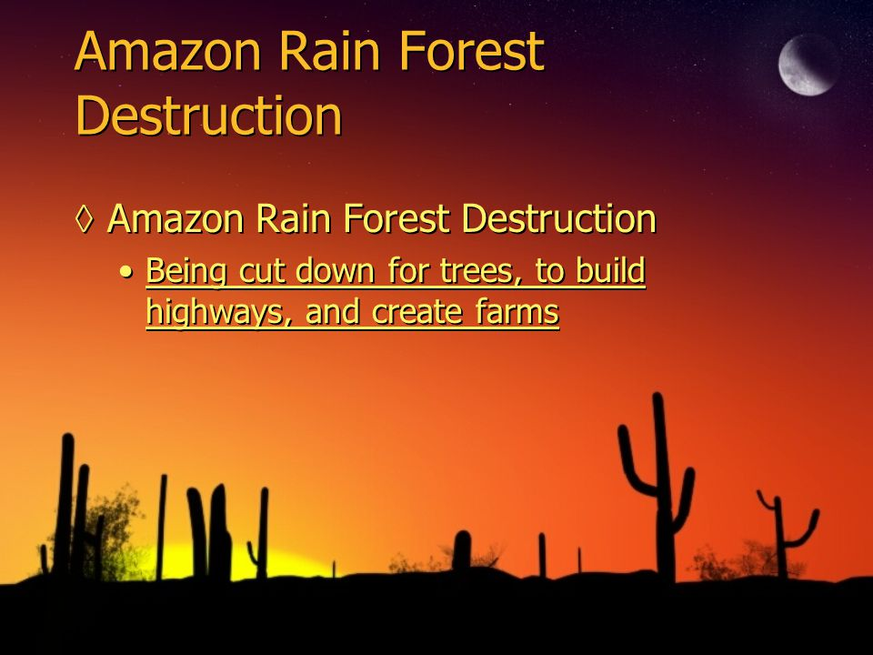 Amazon Rain Forest Destruction ◊Amazon Rain Forest Destruction Being cut down for trees, to build highways, and create farms ◊Amazon Rain Forest Destruction Being cut down for trees, to build highways, and create farms