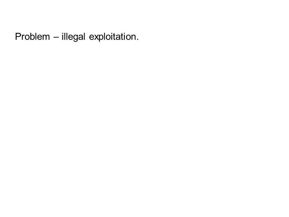Problem – illegal exploitation.