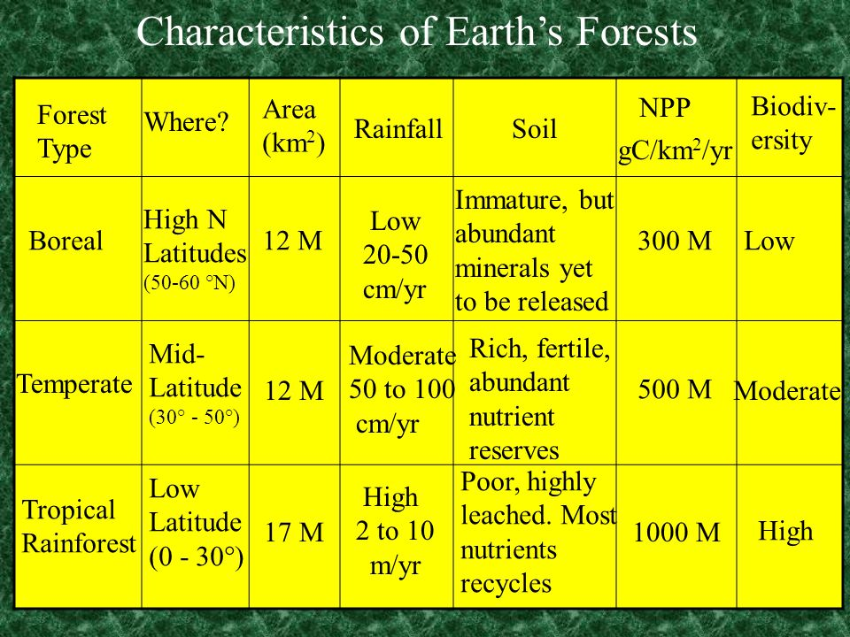 Characteristics of Earth's Forests Forest Type Where.