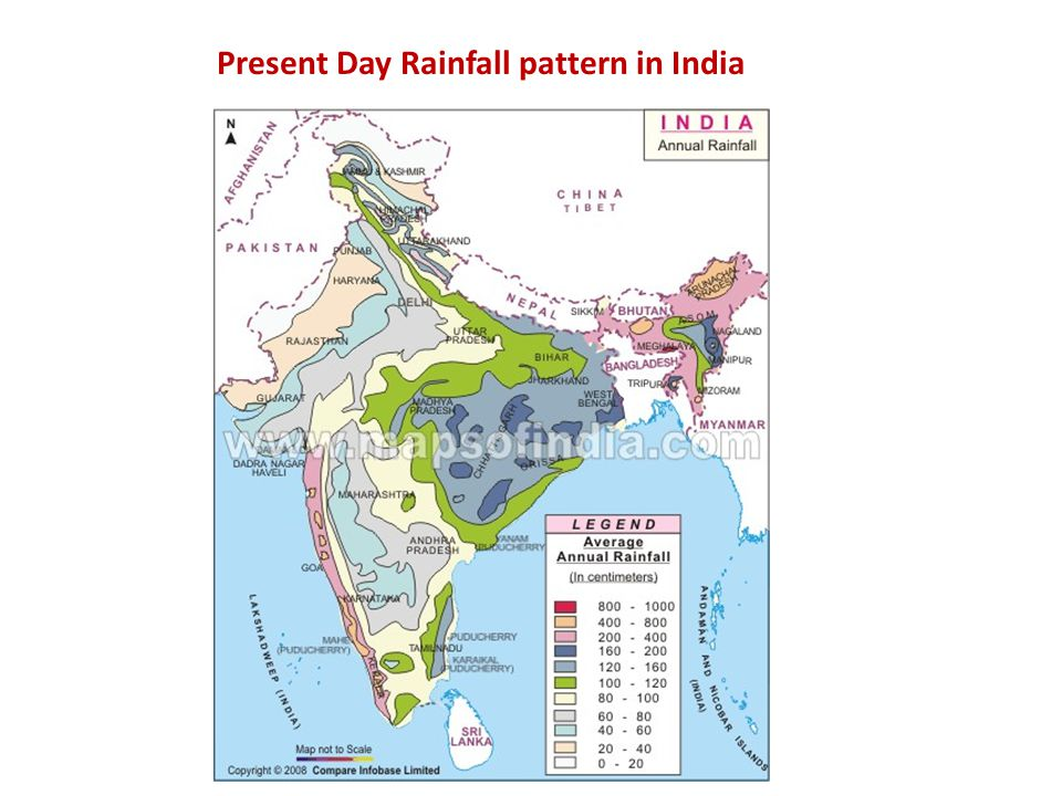 Present Day Rainfall pattern in India