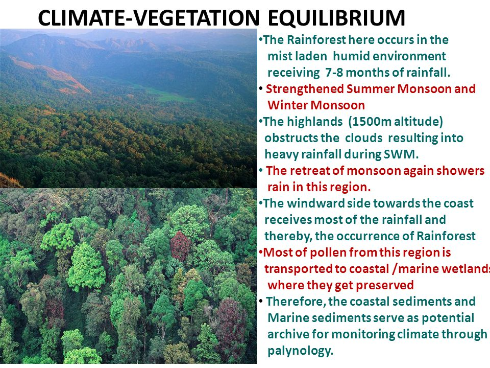Adverse Climate: Low Rainfall (During Cold & Arid Conditions- Glacial periods)  Vegetation shrinks to Pockets in areas retaining soil moisture around water body, Crevices or shady areas where evaporation is minimum.