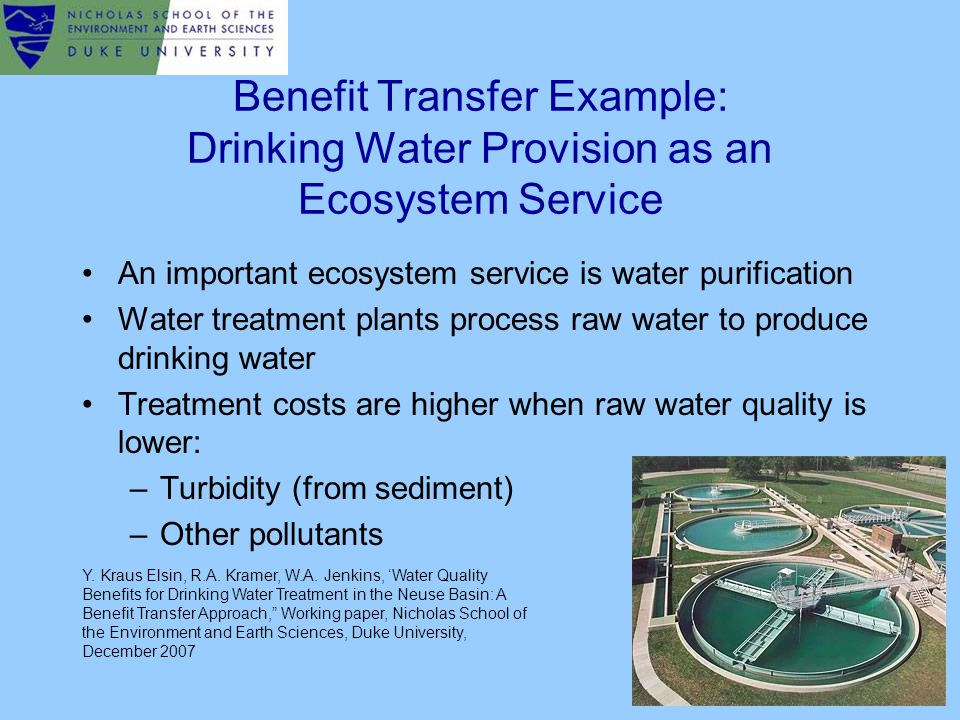Benefit Transfer Example: Drinking Water Provision as an Ecosystem Service An important ecosystem service is water purification Water treatment plants process raw water to produce drinking water Treatment costs are higher when raw water quality is lower: –Turbidity (from sediment) –Other pollutants Y.
