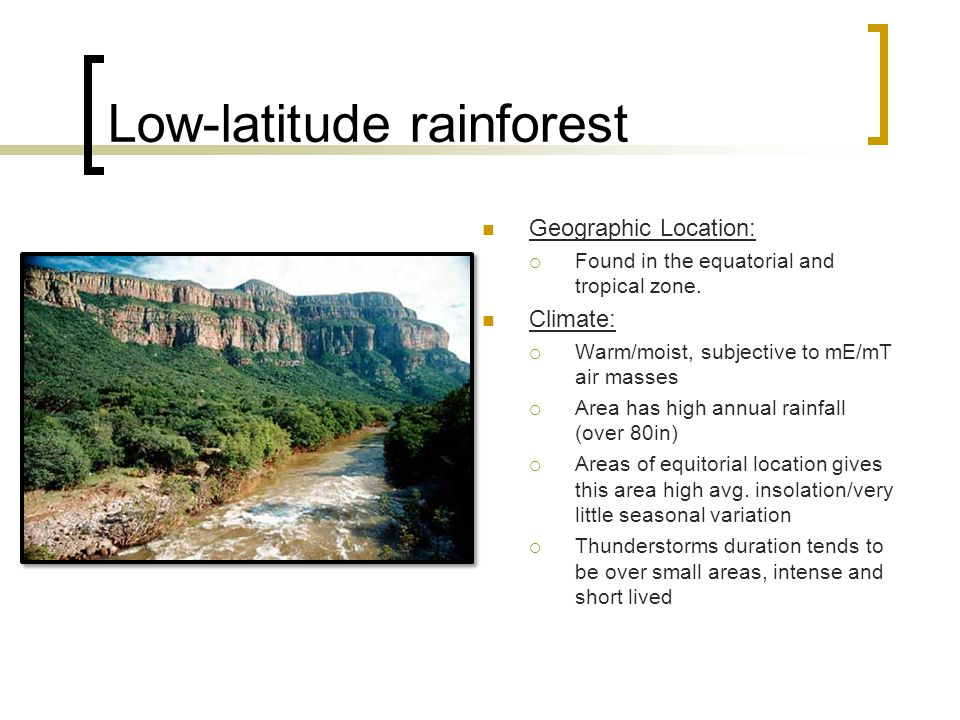Low-latitude rainforest Geographic Location:  Found in the equatorial and tropical zone.