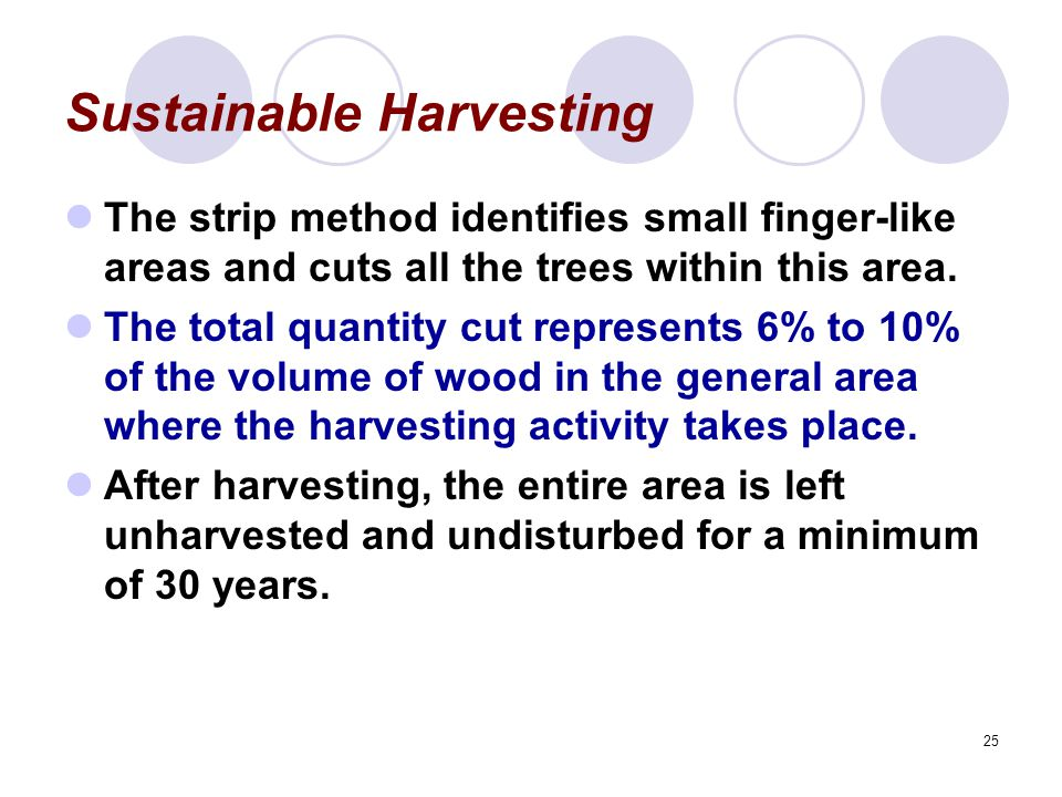25 Sustainable Harvesting The strip method identifies small finger-like areas and cuts all the trees within this area. The total quantity cut represen