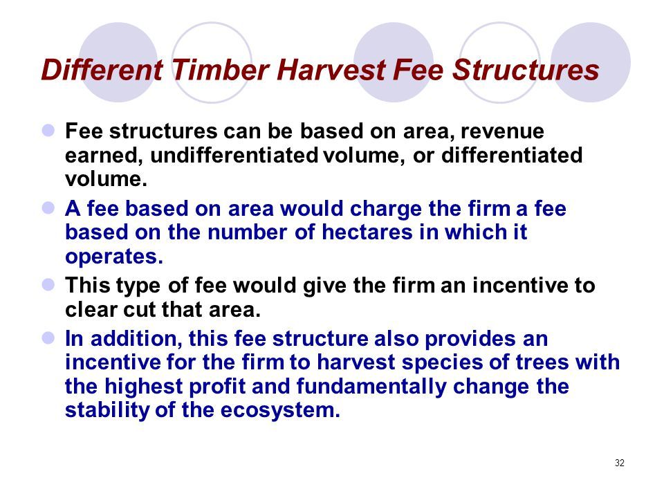 32 Different Timber Harvest Fee Structures Fee structures can be based on area, revenue earned, undifferentiated volume, or differentiated volume.