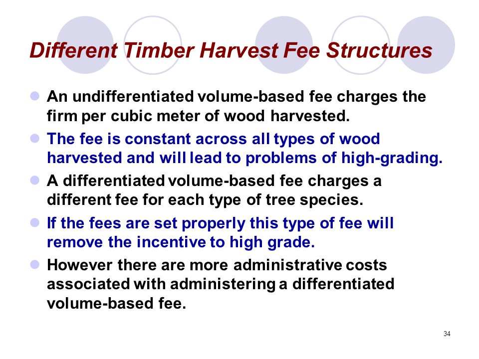 34 Different Timber Harvest Fee Structures An undifferentiated volume-based fee charges the firm per cubic meter of wood harvested.