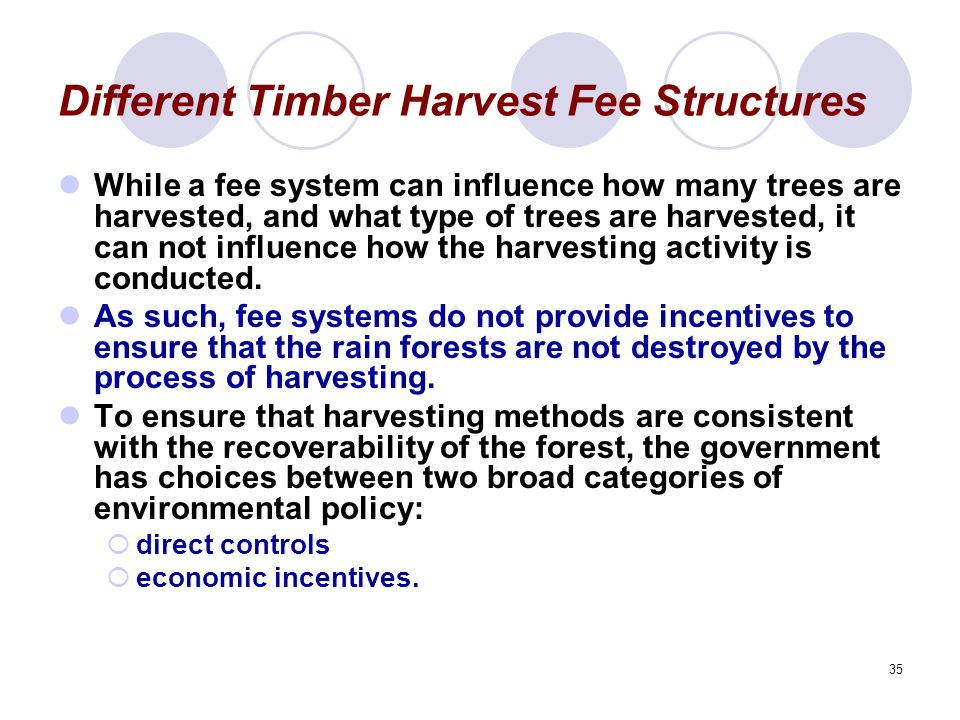 35 Different Timber Harvest Fee Structures While a fee system can influence how many trees are harvested, and what type of trees are harvested, it can not influence how the harvesting activity is conducted.