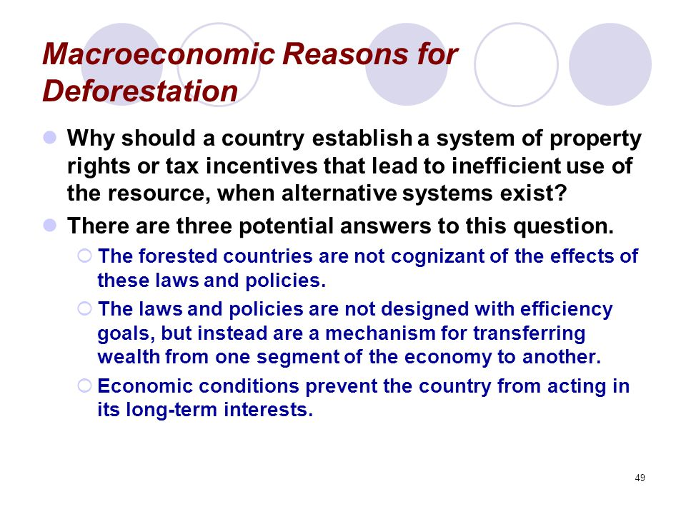 49 Macroeconomic Reasons for Deforestation Why should a country establish a system of property rights or tax incentives that lead to inefficient use o