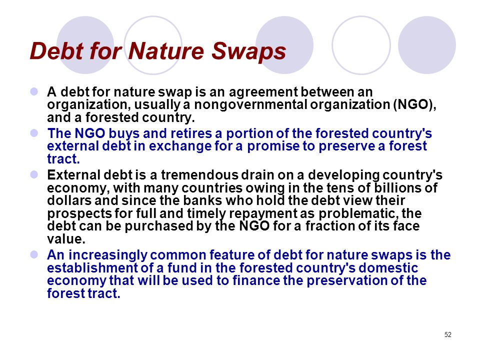 52 Debt for Nature Swaps A debt for nature swap is an agreement between an organization, usually a nongovernmental organization (NGO), and a forested country.
