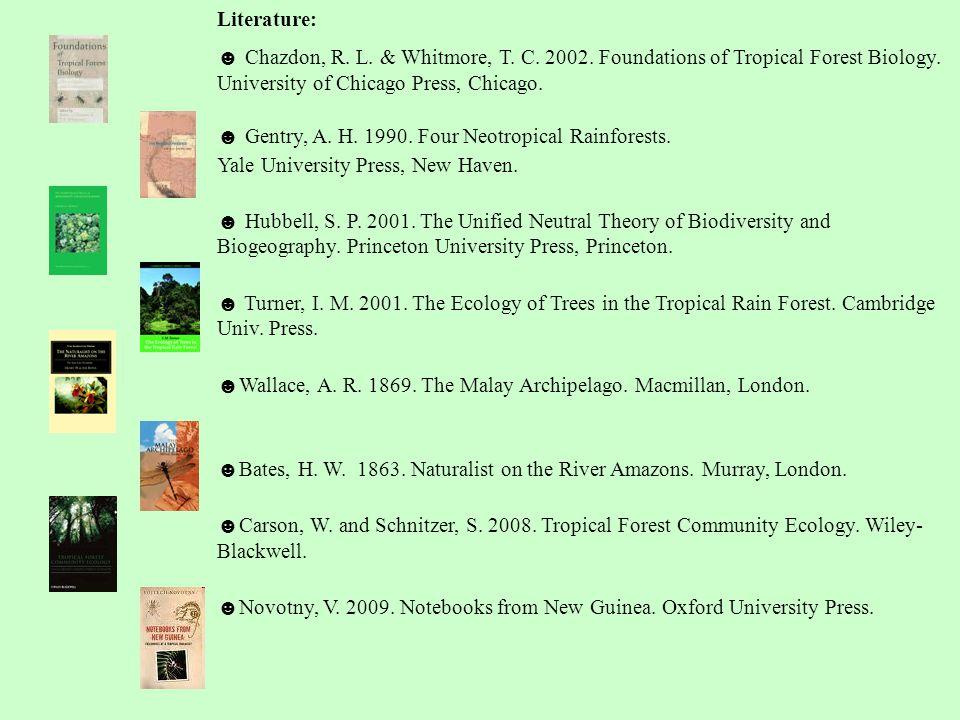 Literature: ☻ Chazdon, R.L. & Whitmore, T. C. 2002.