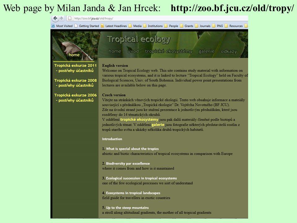 http://zoo.bf.jcu.cz/old/tropy/Web page by Milan Janda & Jan Hrcek: