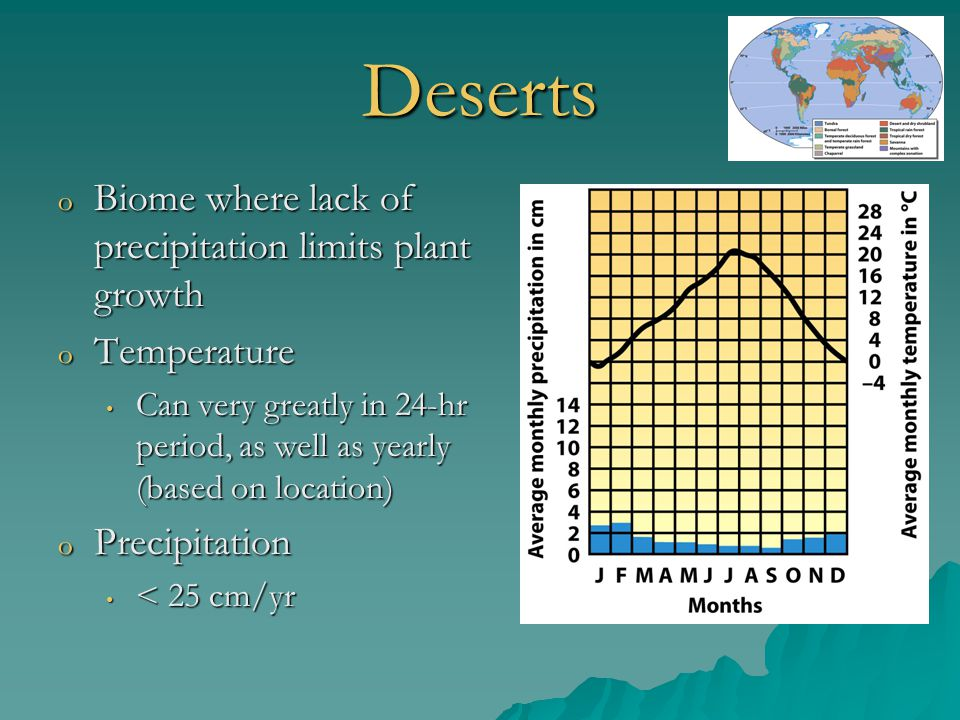 Deserts o Biome where lack of precipitation limits plant growth o Temperature Can very greatly in 24-hr period, as well as yearly (based on location)