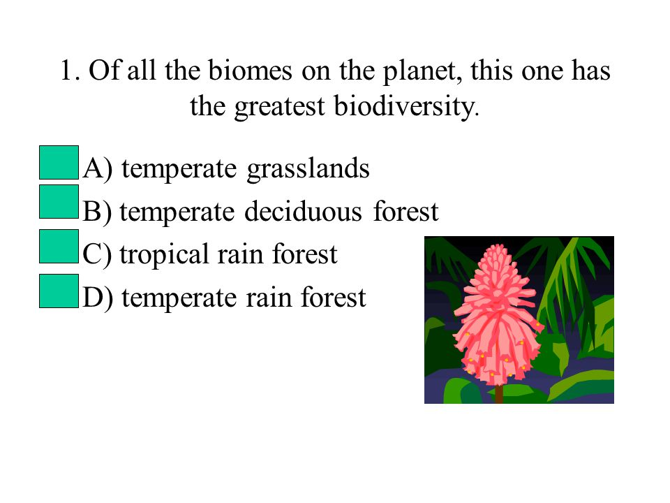 1. Of all the biomes on the planet, this one has the greatest biodiversity. A) temperate grasslands B) temperate deciduous forest C) tropical rain for