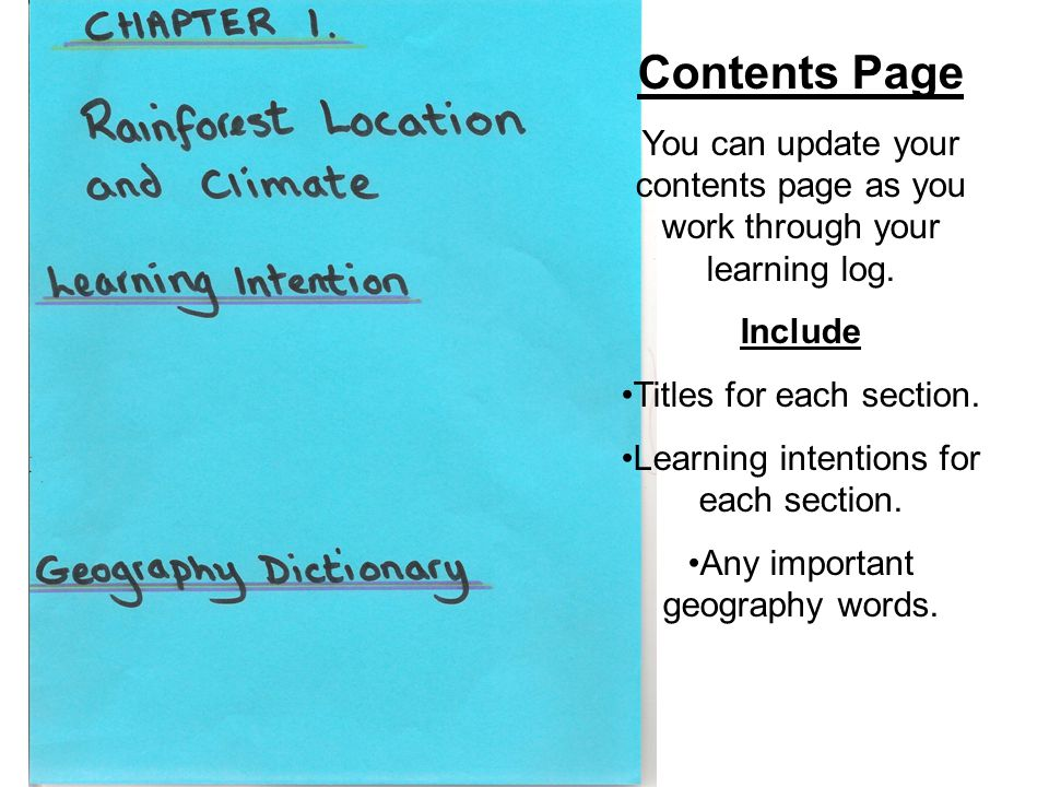 Contents Page You can update your contents page as you work through your learning log. Include Titles for each section. Learning intentions for each s