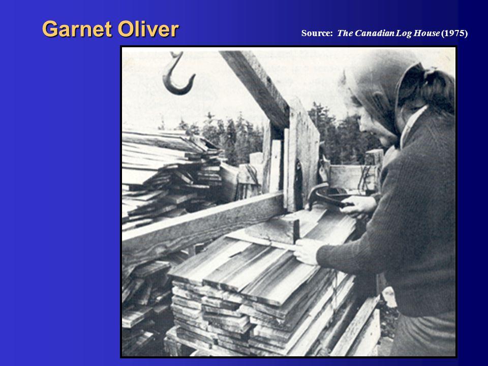 Garnet Oliver Source: The Canadian Log House (1975)