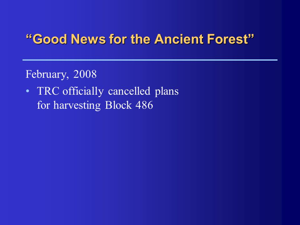 """Good News for the Ancient Forest"" February, 2008 TRC officially cancelled plans for harvesting Block 486"
