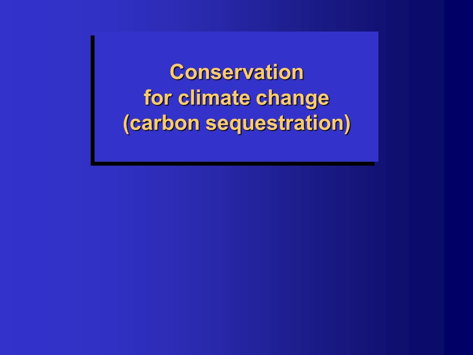 Conservation for climate change (carbon sequestration)