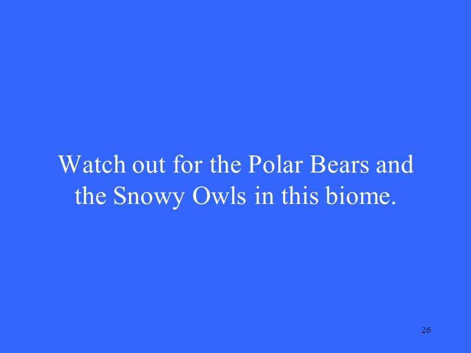 26 Watch out for the Polar Bears and the Snowy Owls in this biome.