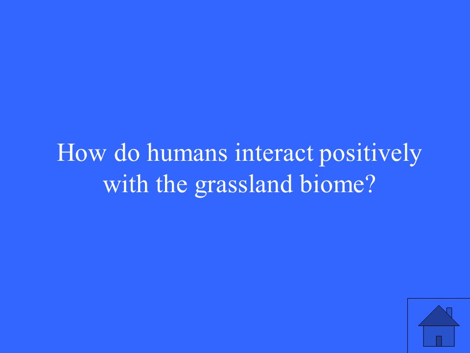 44 How do humans interact positively with the grassland biome?