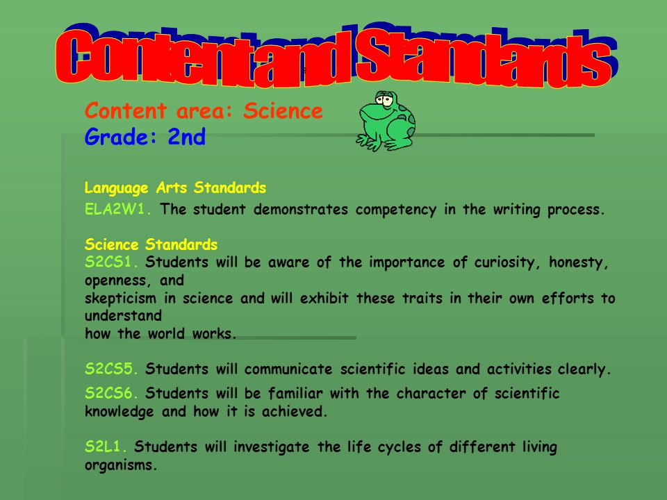 Content area: Science Grade: 2nd Language Arts Standards ELA2W1.