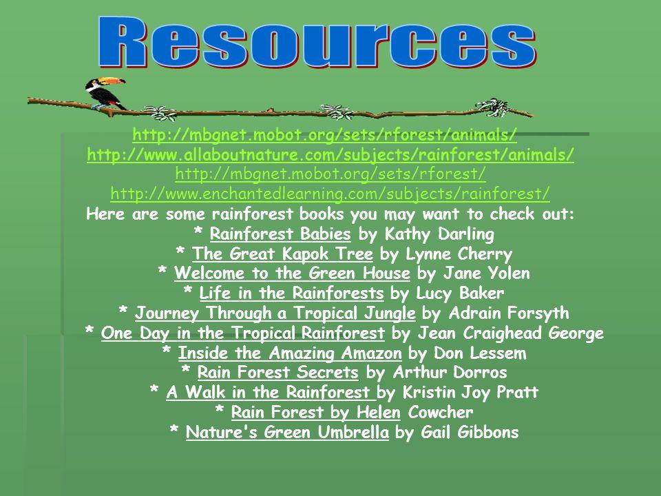 http://mbgnet.mobot.org/sets/rforest/animals/ http://www.allaboutnature.com/subjects/rainforest/animals/ http://mbgnet.mobot.org/sets/rforest/ http://