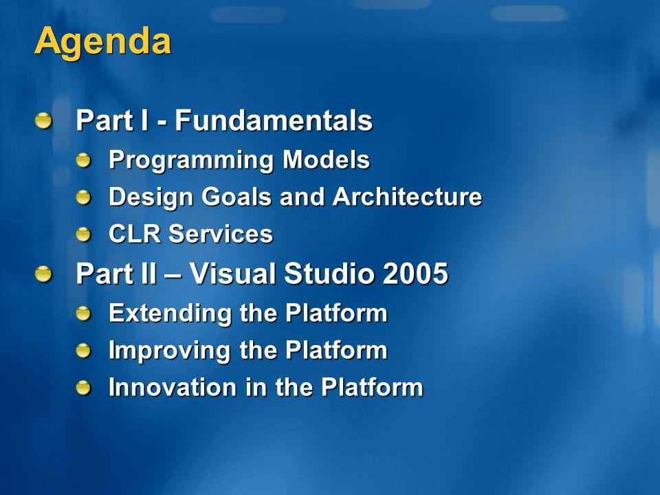 Agenda Part I - Fundamentals Programming Models Design Goals and Architecture CLR Services Part II – Visual Studio 2005 Extending the Platform Improvi