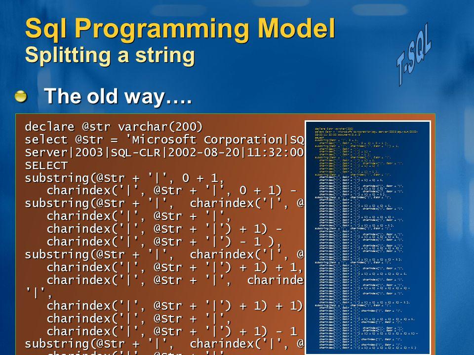 Sql Programming Model Splitting a string The old way…. declare @str varchar(200) select @Str = 'Microsoft Corporation|SQL Server|2003|SQL-CLR|2002-08-